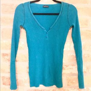 Moda International Weave Teal Top - Size Large